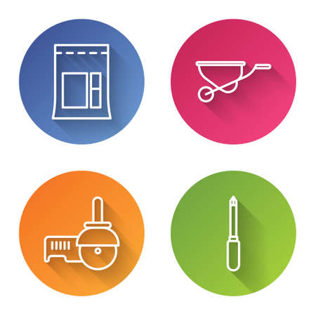 Set line Cement bag, Wheelbarrow, Angle grinder and Screwdriver. Color circle button. Vector