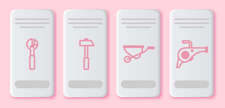 Set line Adjustable wrench, Hammer, Wheelbarrow and Leaf garden blower. White rectangle button. Vector