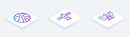 Set Isometric line Falling stars, Satellite and Solar system. White square button. Vector