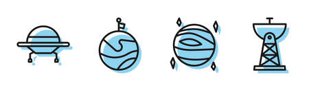 Set line Planet Venus, UFO flying spaceship, Moon with flag and Satellite dish icon. Vector