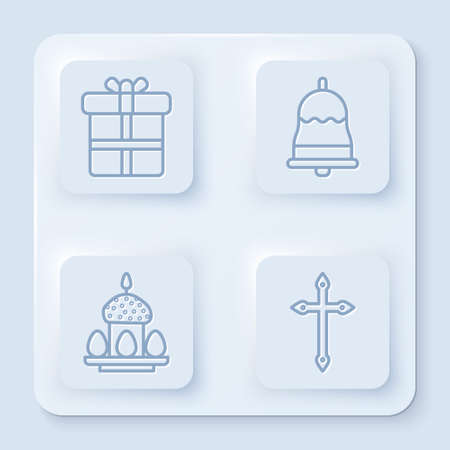 Set line Gift box, Ringing bell, Easter cake and eggs and Christian cross. White square button. Vector