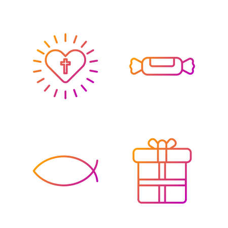 Set line Gift box, Christian fish, Christian cross and heart and Candy. Gradient color icons. Vector
