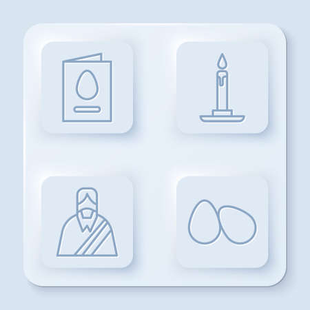 Set line Greeting card with Happy Easter, Burning candle in candlestick, Jesus Christ and Easter eggs. White square button. Vector
