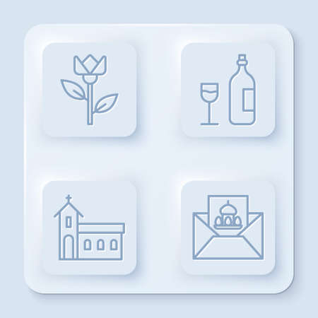 Set line Flower tulip, Wine bottle with glass, Church building and Greeting card with Happy Easter. White square button. Vector