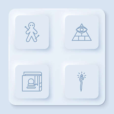 Set line Voodoo doll, Masons, Ancient magic book and Magic staff. White square button. Vector Ilustrace