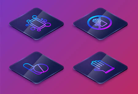 Set Isometric line Bar of soap, Medicine pill or tablet, No handshake and Medical rubber gloves. Blue square button. Vector