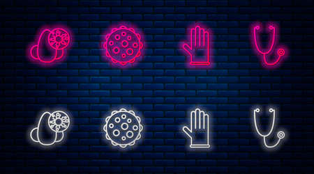 Set line Virus, Medical rubber gloves, Runny nose and virus and Stethoscope. Glowing neon icon on brick wall. Vector