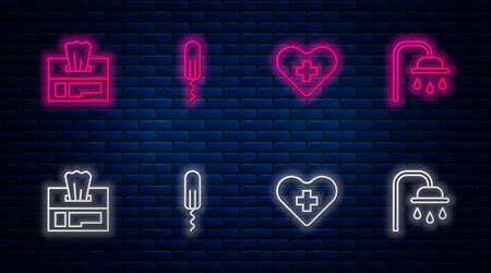 Set line Sanitary tampon, Heart with cross, Wet wipe pack and Shower head. Glowing neon icon on brick wall. Vector