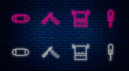 Set line Straight razor, Towel on hanger, Medical protective mask and Sanitary tampon. Glowing neon icon on brick wall. Vector