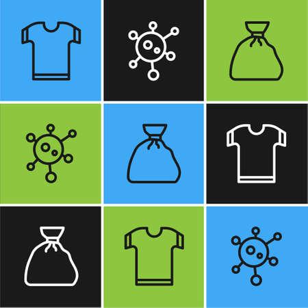 Set line T-shirt, Garbage bag and Virus icon. Vector Ilustração