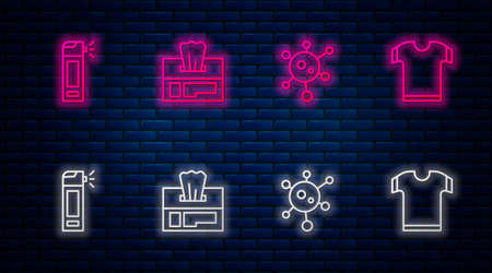 Set line Wet wipe pack, Virus, Bottle with nozzle spray and T-shirt. Glowing neon icon on brick wall. Vector 矢量图像