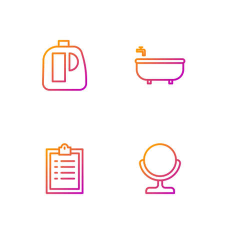 Set line Round makeup mirror, Clipboard with checklist, Bottles for cleaning agent and Bathtub. Gradient color icons. Vector Ilustrace