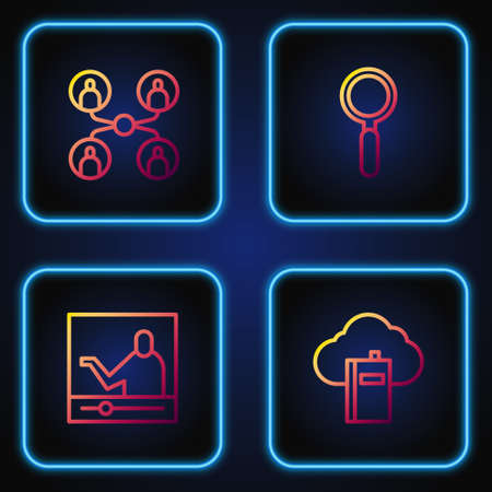 Set line Cloud or online library, Online education, class and Magnifying glass. Gradient color icons. Vector