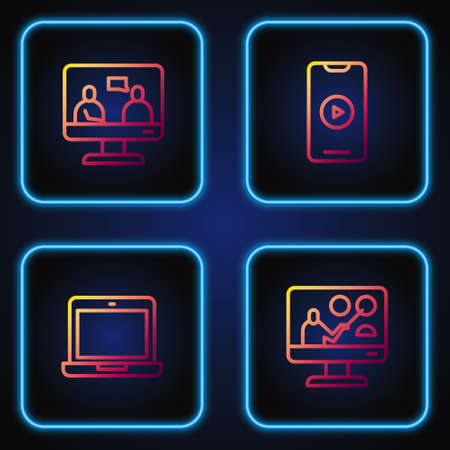 Set line Online education, Laptop, and play video. Gradient color icons. Vector