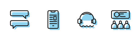 Set line Headphones, Speech bubble chat, Online book mobile and Training, presentation icon. Vector