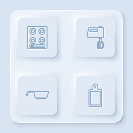 Set line Gas stove, Electric mixer, Frying pan and Cutting board. White square button. Vector