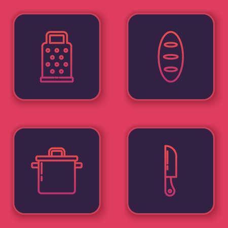 Set line Grater, Cooking pot, Bread loaf and Knife. Blue square button. Vector Ilustração