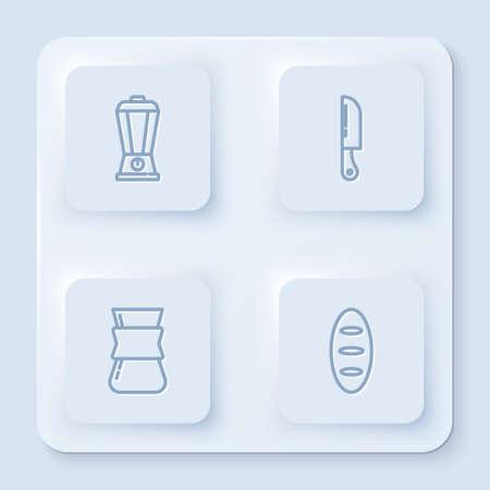 Set line Blender, Knife, Coffee turk and Bread loaf. White square button. Vector Ilustração