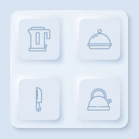 Set line Electric kettle, Covered with tray of food, Knife and Kettle handle. White square button. Vector