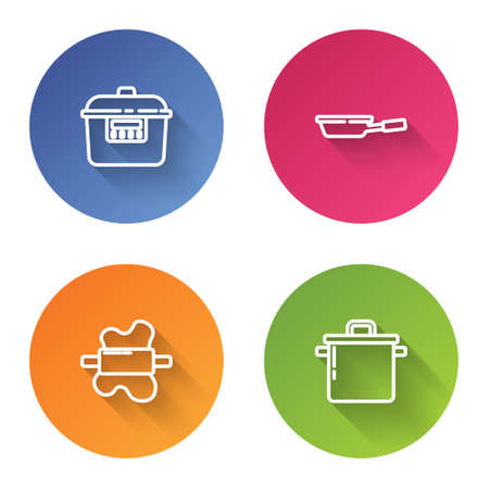 Set line Slow cooker, Frying pan, Rolling pin on dough and Cooking pot. Color circle button. Vector Ilustração