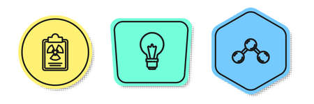 Set line Radiation warning document, Light bulb with concept of idea and Molecule. Colored shapes. Vector