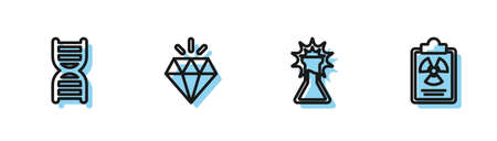 Set line Test tube and flask, DNA symbol, Diamond and Radiation warning document icon. Vector