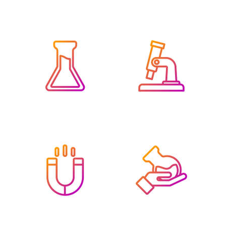 Set line Test tube and flask, Magnet, and Microscope. Gradient color icons. Vector