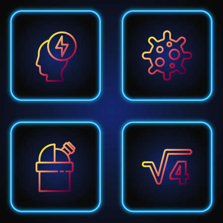 Set line Square root of 4 glyph, Astronomical observatory, Head and electric symbol and Virus. Gradient color icons. Vector