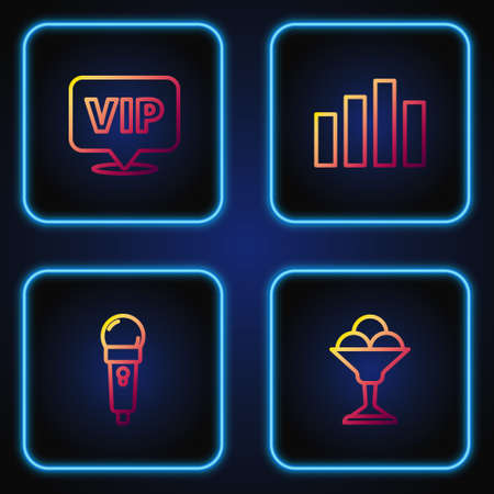 Set line Ice cream in bowl, Microphone, Location Vip and Music equalizer. Gradient color icons. Vector