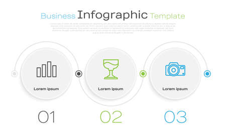 Set line Music equalizer, Cocktail and Photo camera. Business infographic template. Vector 矢量图像