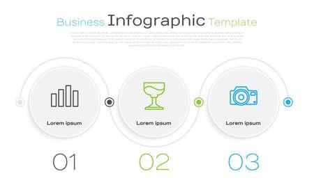 Set line Music equalizer, Cocktail and Photo camera. Business infographic template. Vector Ilustração
