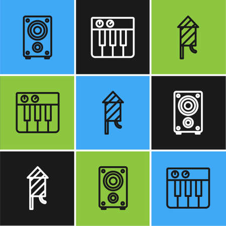 Set line Stereo speaker, Firework rocket and Music synthesizer icon. Vector