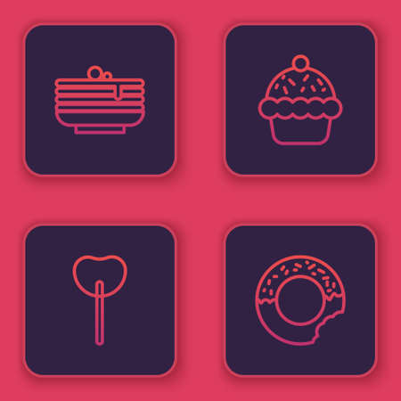 Set line Stack of pancakes, Lollipop, Cupcake and Donut. Blue square button. Vector