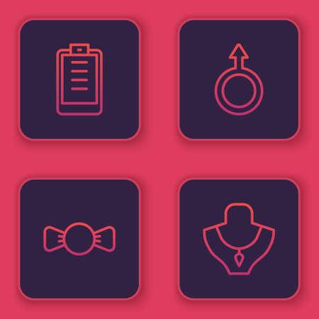 Set line Clipboard with checklist, Bow tie, Male gender symbol and Necklace on mannequin. Blue square button. Vector Ilustração