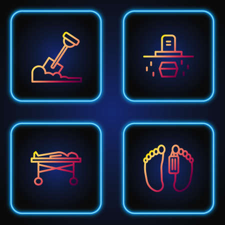 Set line Dead body, in the morgue, Shovel ground and Grave with coffin. Gradient color icons. Vector