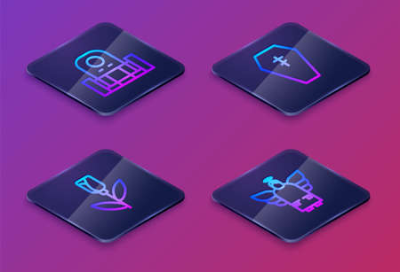 Set Isometric line Grave with tombstone, Flower rose, Coffin cross and Christmas angel. Blue square button. Vector Vettoriali
