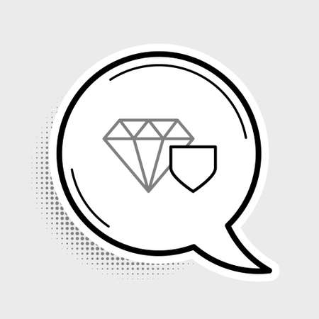 Line Diamond with shield icon isolated on grey background. Jewelry insurance concept. Security, safety, protection, protect concept. Colorful outline concept. Vector