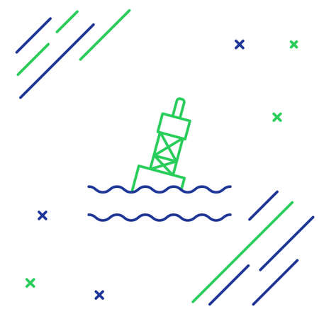 Line Floating buoy on the sea icon isolated on white background. Colorful outline concept. Vector Иллюстрация