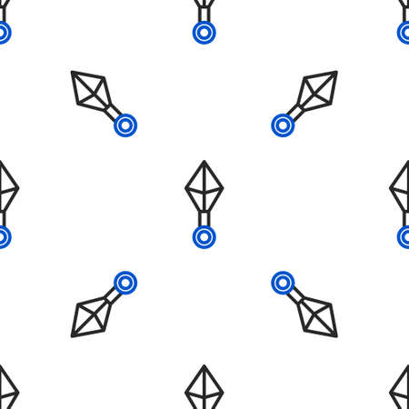 Line Japanese ninja shuriken icon isolated seamless pattern on white background. Colorful outline concept. Vector
