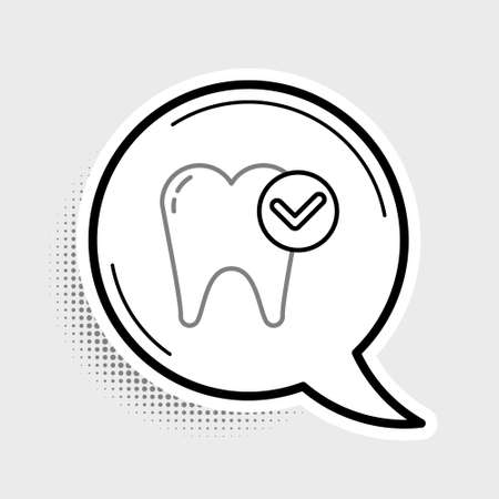 Line Tooth whitening concept icon isolated on grey background. Tooth symbol for dentistry clinic or dentist medical center. Colorful outline concept. Vector