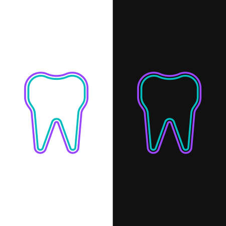 Line Tooth icon isolated on white and black background. Tooth symbol for dentistry clinic or dentist medical center and toothpaste package. Colorful outline concept. Vector