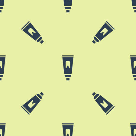 Blue Tube of toothpaste icon isolated seamless pattern on yellow background. Vector Illustration