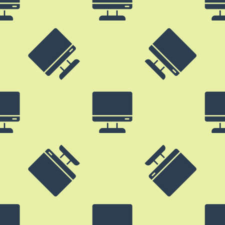 Blue Computer monitor screen icon isolated seamless pattern on yellow background. Electronic device. Front view. Vector Illustration