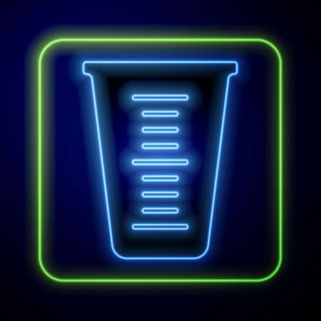 Glowing neon Measuring cup to measure dry and liquid food icon isolated on blue background. Plastic graduated beaker with handle. Vector
