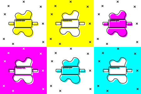 Set Rolling pin on dough icon isolated on color background. Vector