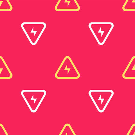Yellow High voltage icon isolated seamless pattern on red background. Danger symbol. Arrow in triangle. Warning icon. Vector