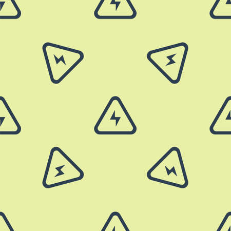 Blue High voltage icon isolated seamless pattern on yellow background. Danger symbol. Arrow in triangle. Warning icon. Vector Ilustracja
