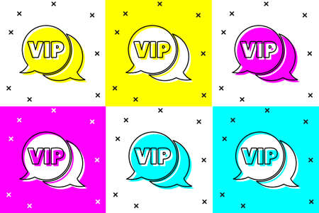 Set Vip in speech bubble icon isolated on color background. Vector