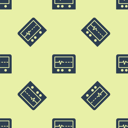Blue Beat dead in monitor icon isolated seamless pattern on yellow background. ECG showing death. Vector