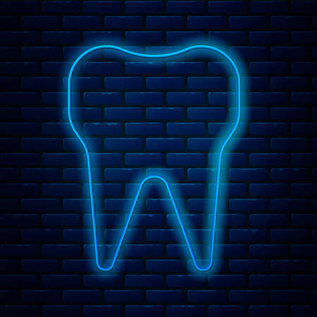 Glowing neon line Tooth icon isolated on brick wall background. Tooth symbol for dentistry clinic or dentist medical center and toothpaste package. Vector Illustration Stock Illustratie